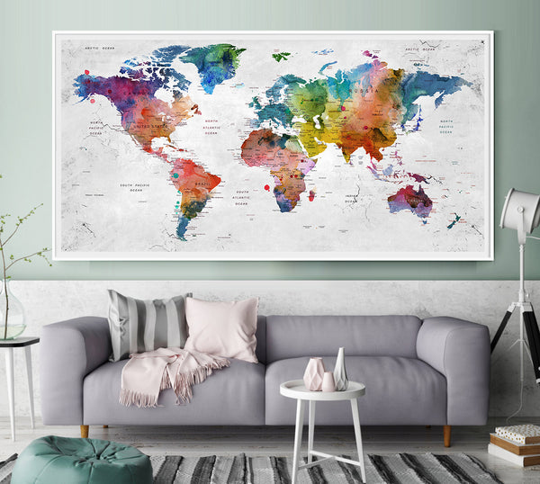 Push Pin Travel Map of World - Watercolor Map, Push Pin Map, Fathers Day Gift, Large Wall art, Push Pin World Map, graduation gift - L31