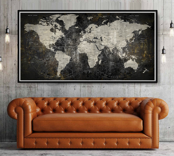 adventure awaits, world map poster, large world map, travel map, world map wall art, home decor, gift, travel, wall decor - L37