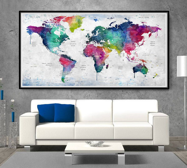 watercolor map print