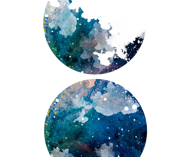 Moon Phases Print, Moon Print, Lunar Phase Print, Moon Phases Watercolor, Moon Phases Colour, Moon Chart, Moon Poster, Moon Wall Art Decor - 281