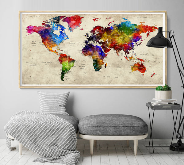 Adventure Awaits World Map, World Traveler Gift, Wanderlust Travel Gift, Gift for Man, Push Pin Travel Map, Anniversary Gifts for Men - L91