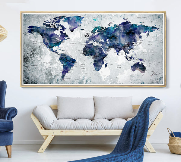 World Map Print, Navy Blue World Map, Watercolor Poster Decor, Large Canvas Art, Home and Office Decor, Home Gift, Blue Map Wall Decor - L34