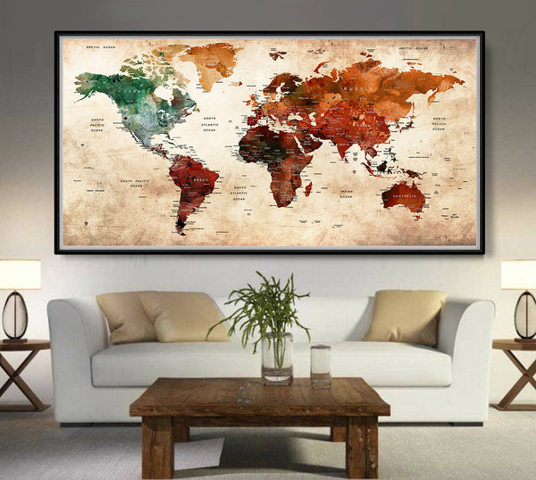 Antique vintage giant World map Retro poster version - L73 on giant world map mural, giant wall compass, giant detailed world map, wall size world map, ikea wall world map, giant laminated world maps, giant wall numbers, modern wall world map, wall sticker world map,