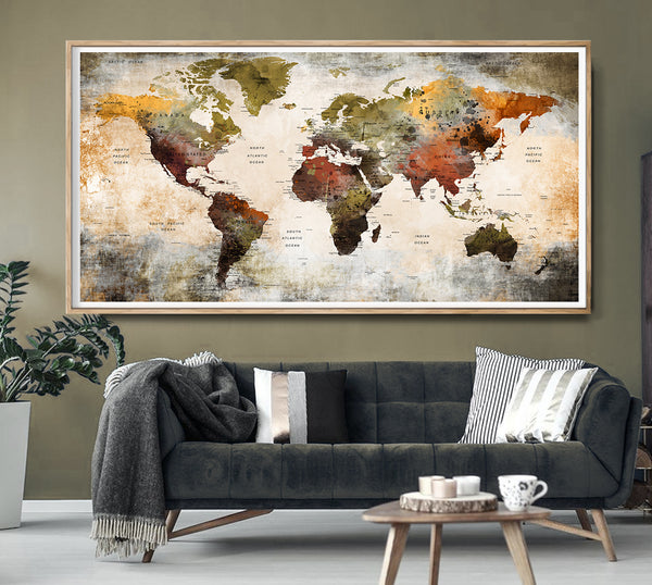 World map poster watercolor world map art Push pin map of the world Travel map Large world map print - L104