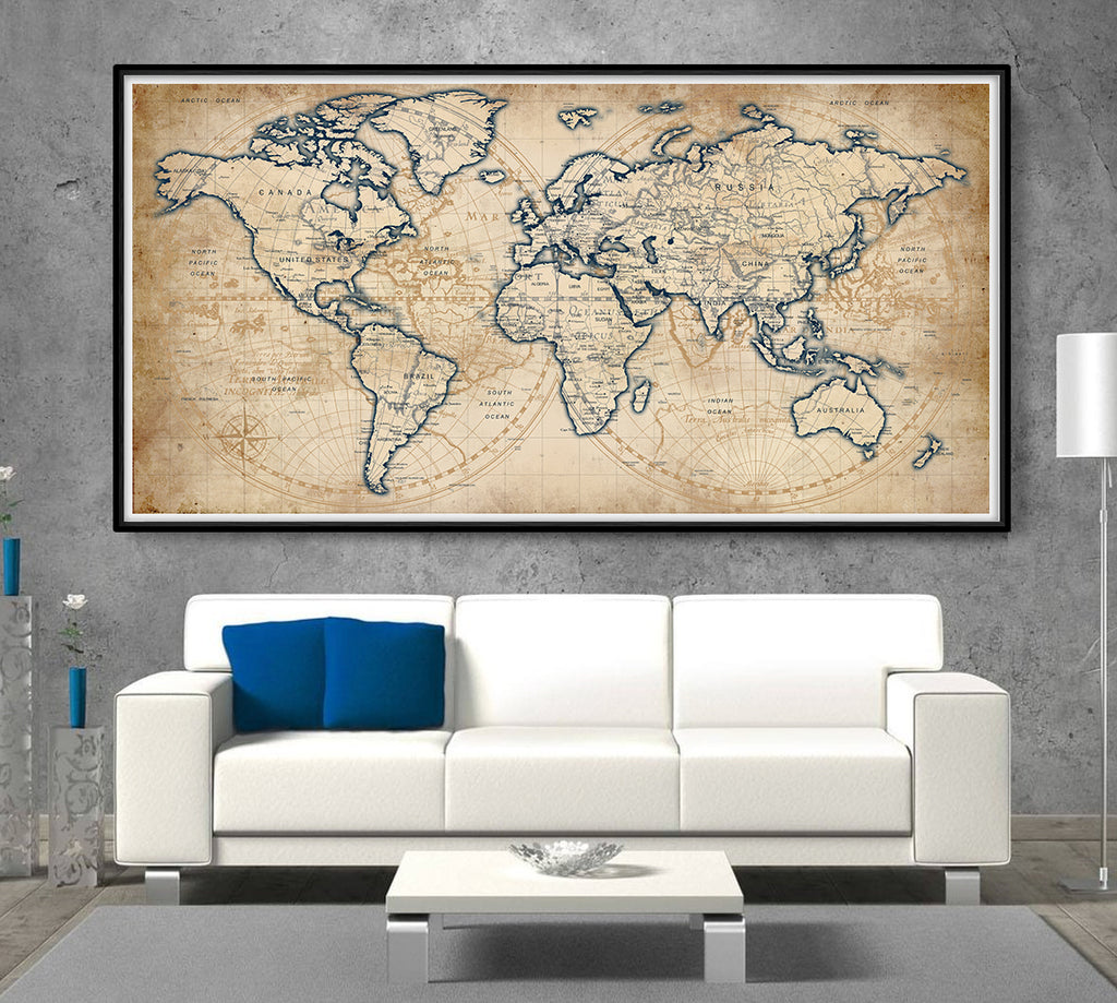 Products tagged large world map wallartprints adventure awaits world map poster large travel map home decor gift travel wall decor l155 gumiabroncs Image collections