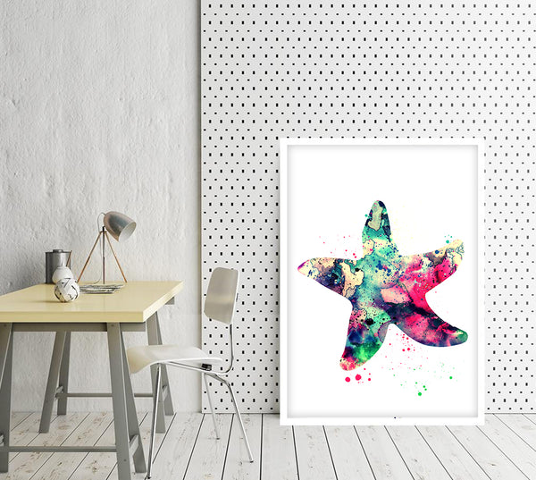 Starfish Watercolor Print Starfish Wall Art Nautical Art Coastal Home Decor Starfish Poster Bathroom Decor Nursery Art Print Kids Room Decor - 276