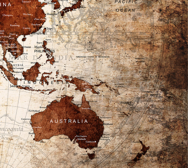 World Map Rustic Vintage Abstract Painting Print Poster - L59