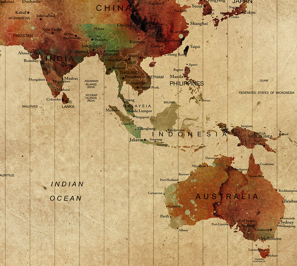 World Map Watercolor, home decor, world map poster, vintage world ...