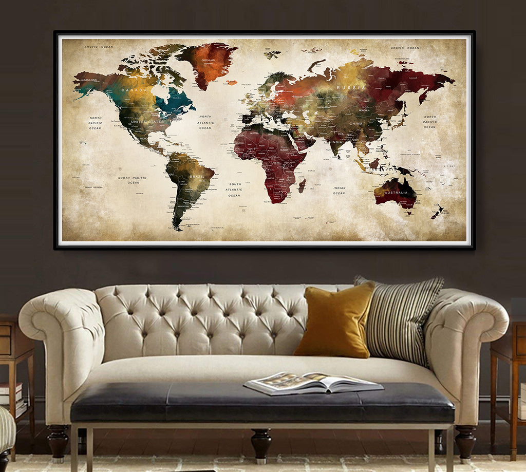 Products tagged world map room decor wallartprints antique world map print vintage world map wall art old world map watercolor map art l139 gumiabroncs Gallery