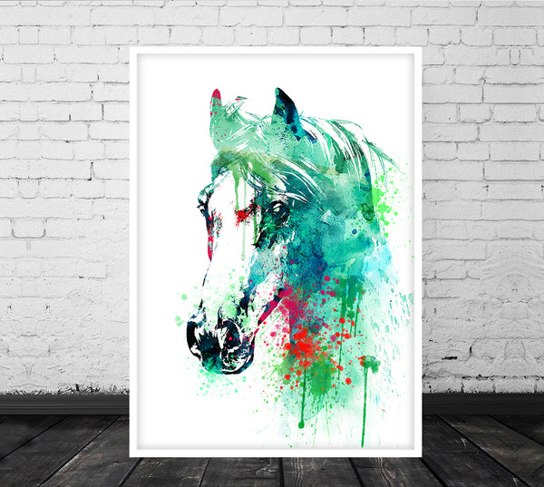 Watercolor Horse art, horse wall art, wall decor, horse decor, watercolor art print poster - 286