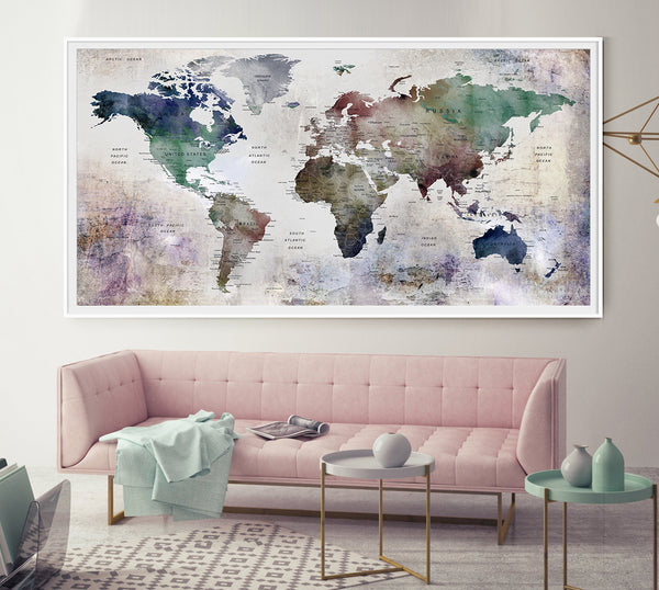 World Map Push Pin, World Map Poster, World Map Wall Art, Large World Map, Detailed Map Wall Decor, Large Wall Art, Home Gift, Office Decor - L26