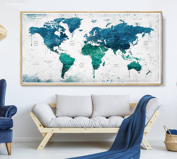 Large blue world map with country names, Travel map Push pin travel map of the world detailed map poster wall art blue map - L47