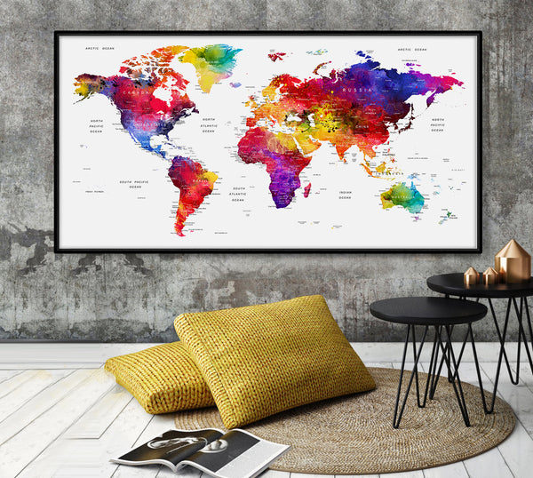 Watercolor Map of the world, Map of the World, Watercolor WorldMap, Map Art, Painted Map - L70