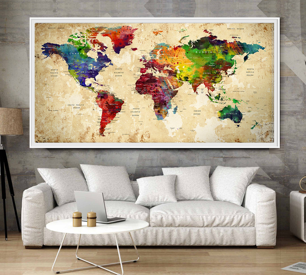 Products tagged watercolor world map wallartprints beautiful world map poster watercolor world map wall art print world map world map home decor world map nursery l12 gumiabroncs Choice Image