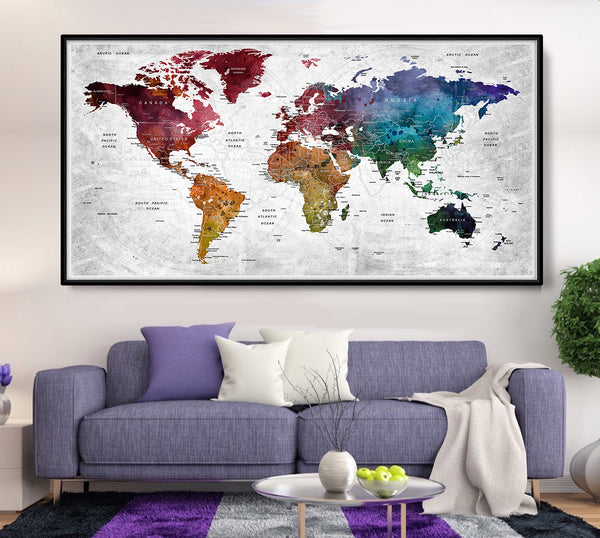 Watercolor Map of the world, Map of the World, Watercolor WorldMap, Map Art, Painted Map - L48