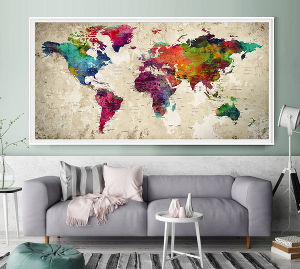 10th Anniversary Gift for Husband Push Pin Travel Map Our Adventures World Map for Wall Travel Map Push Pin Travelers Map Decor - L1