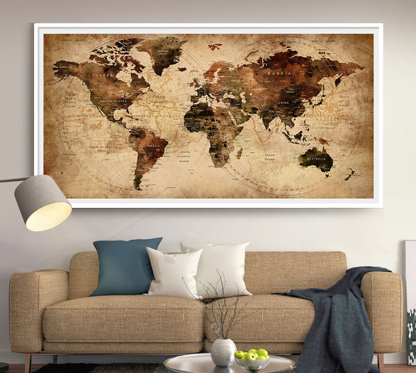 Industrial World Map on Poster, Vintage Map, Large Wall art, Industrial art, Travel map, World Travel Map - L154