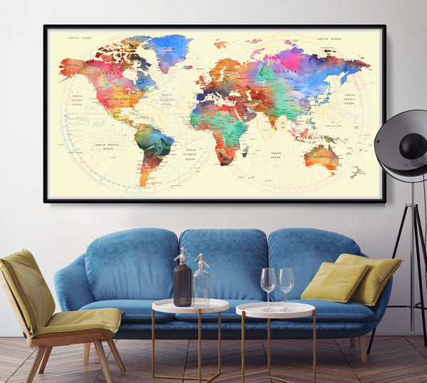 Large world map, World map poster, travel map, detailed world map print, Travel art, distressed art, Travel gift, Home decor - L74