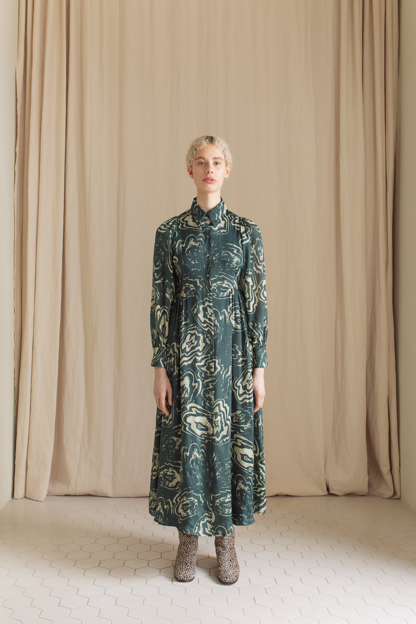 Samuji Leonore Dress in Green and Powder Viscose and Silk Blend