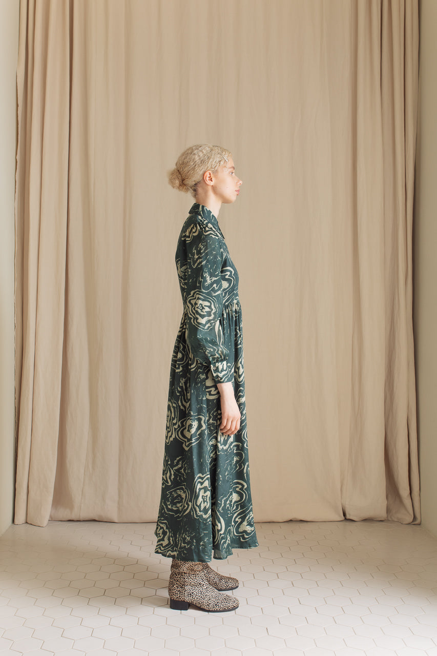 Samuji Leonore Dress in Green and Powder Viscose and Silk Blend Side