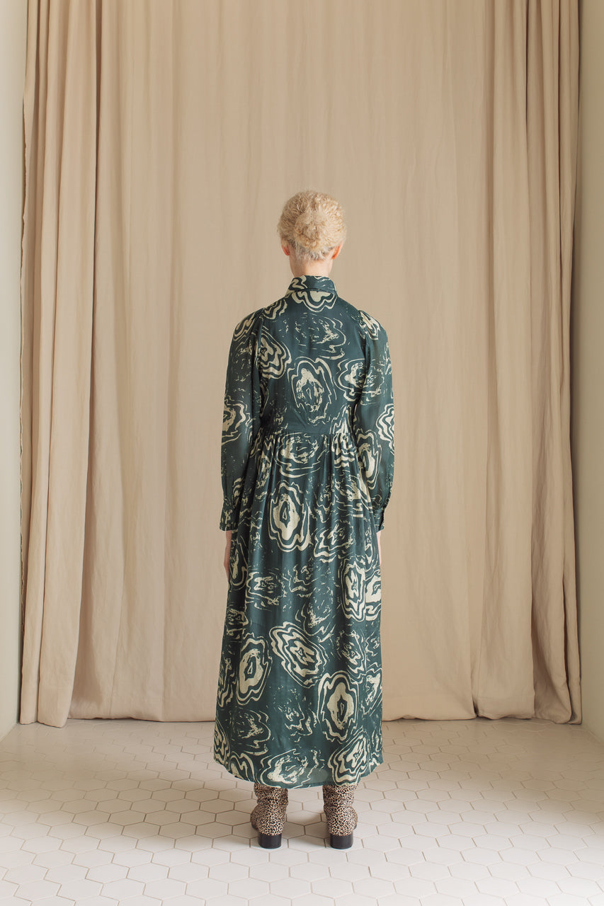 Samuji Leonore Dress in Green and Powder Viscose and Silk Blend Back