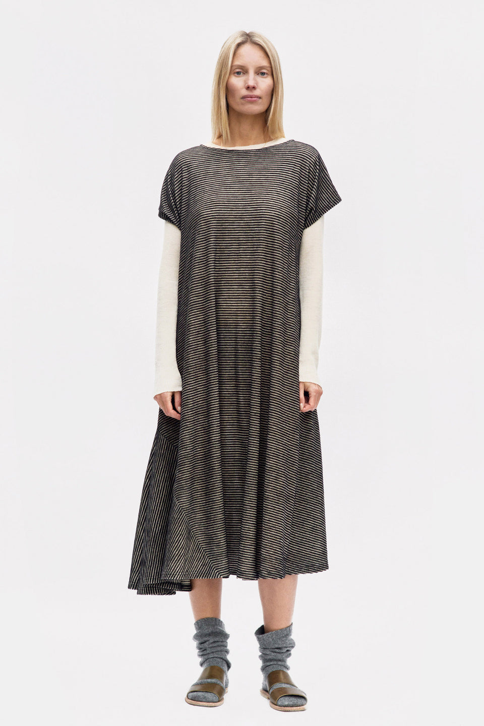 Graziella Dress Foggy Stripe