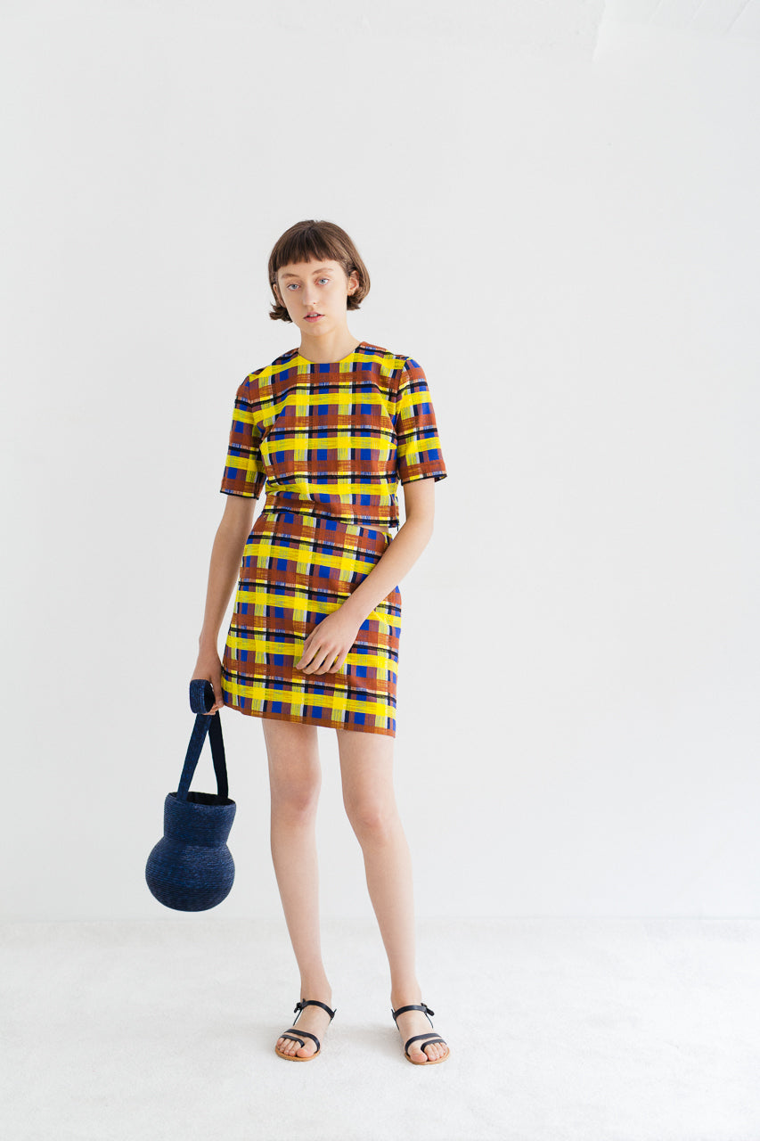 Samuji Vasella Bag Navy Blue with Cookie Shirt and Baffin Skirt in Fancy