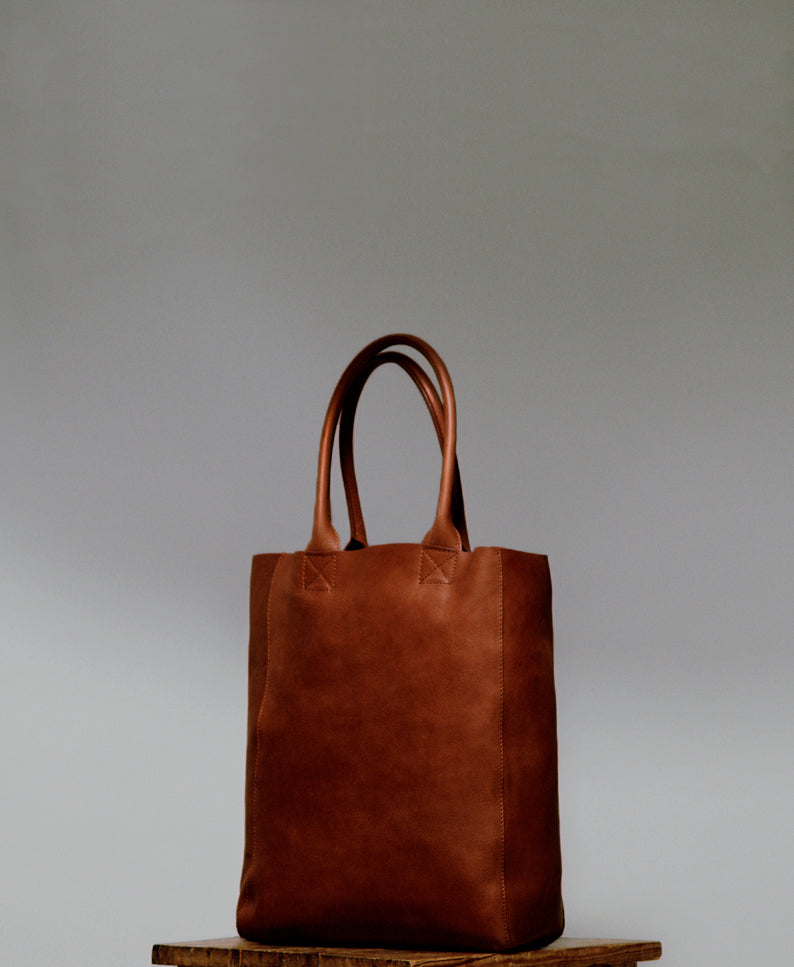 Samuji Unlined Tote Bag in Cognac