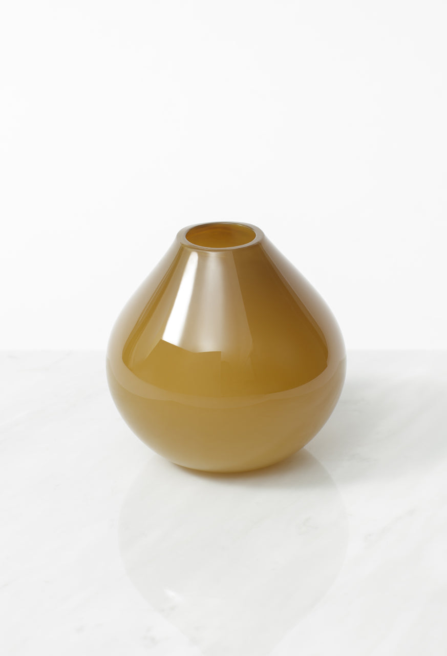 Drop Glass Vase Olive Verde