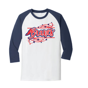 Braves Raglan - Navy/White