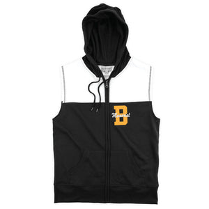Brick Sleeveless Hoodie- Black/White