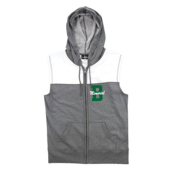 Brick Sleeveless Hoodie- Grey/White