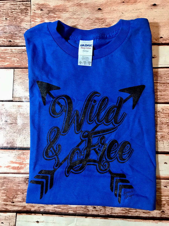 Wild & Free T-Shirt -  royal blue
