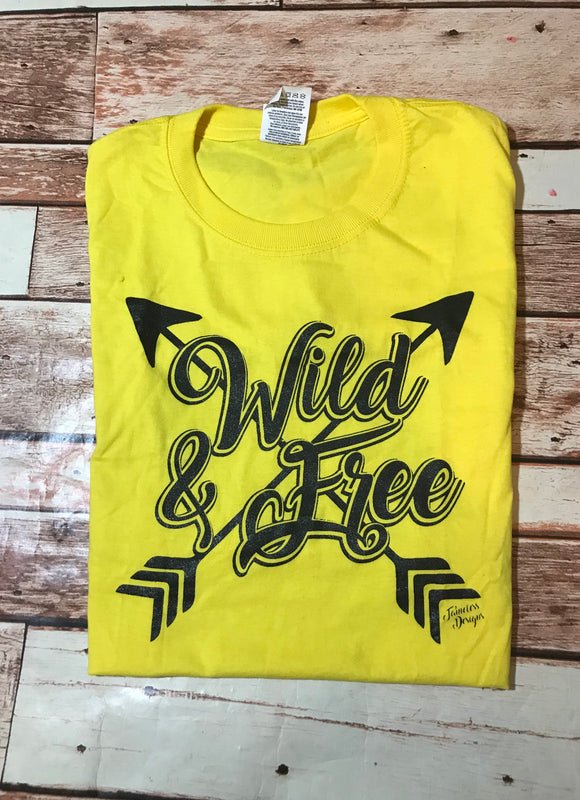 Wild & Free T-Shirt -  bright yellow