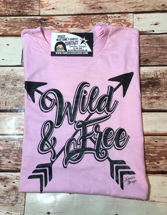 Wild & Free T-Shirt -  Light Pink