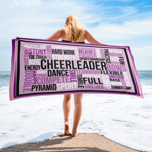 Cheer Word Art Beach Towel
