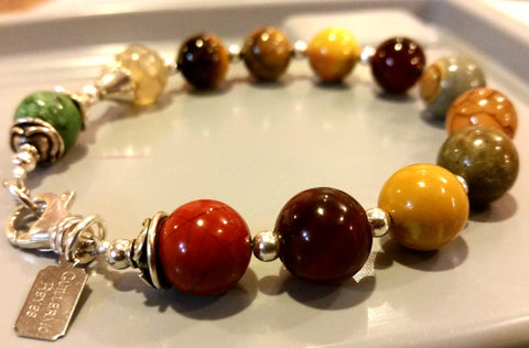 TIGERS EYE BRACELET - MATTE STONES AND SILVER FINDINGS - 12MM