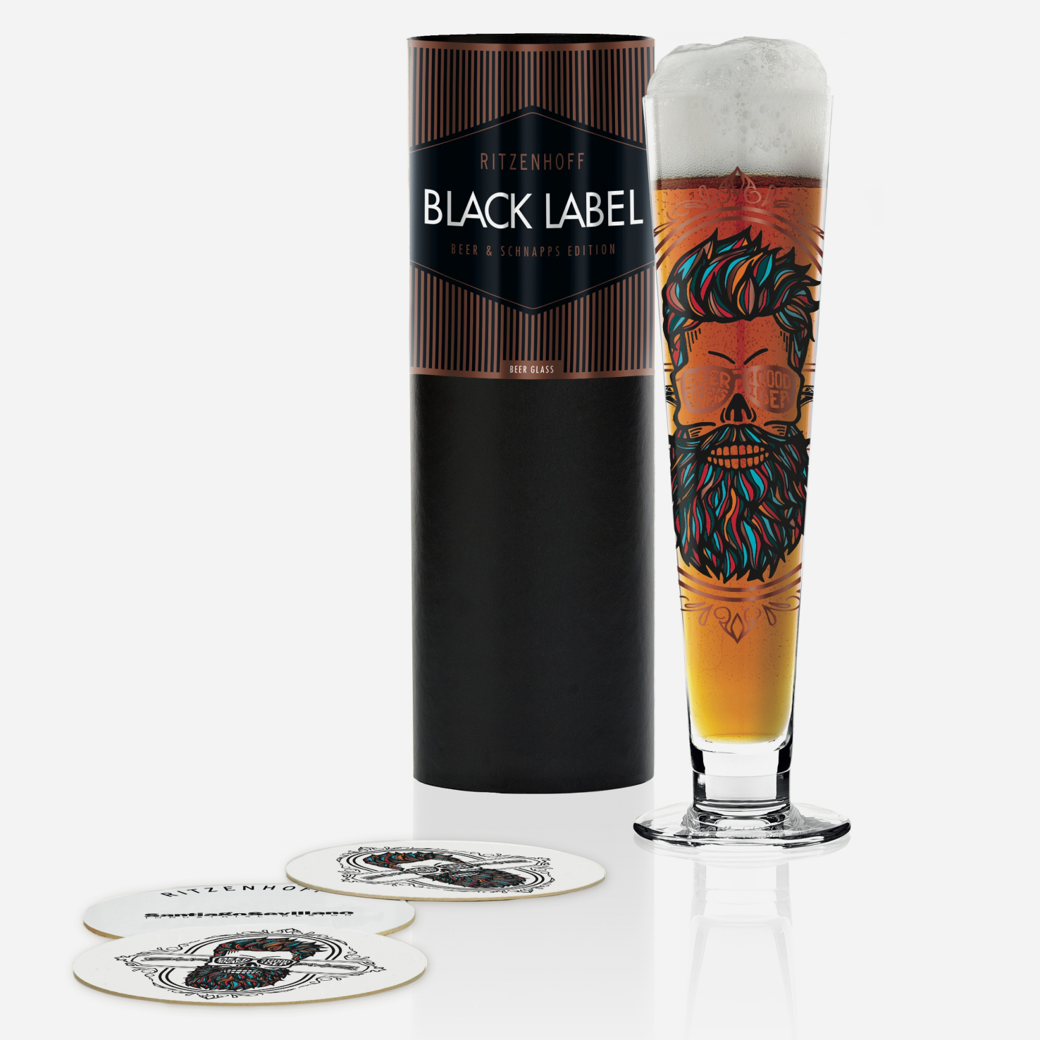 Black Label Beer Glass - Santiago Sevillano