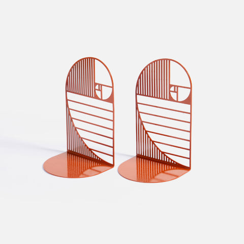 Golden ratio bookends set of 2 - oxide red