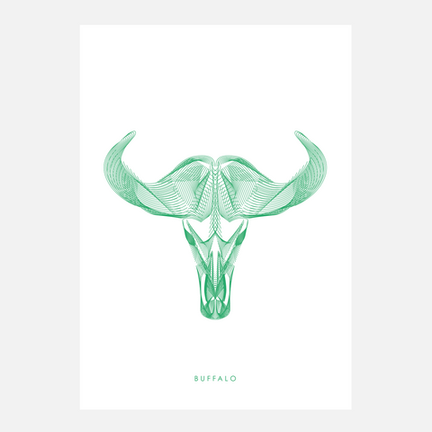 Horned Buck Print - Buffalo