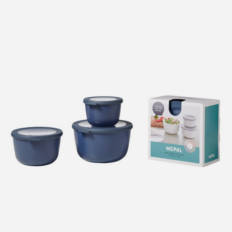 Cirqula 3 Piece Bowl Set/Deep (500ml+1L+2L) - Nordic Denim
