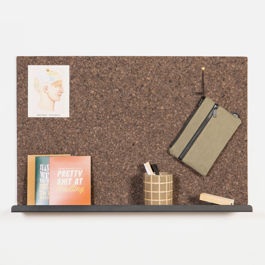 Laken Pin Board with Shelf - Ebony