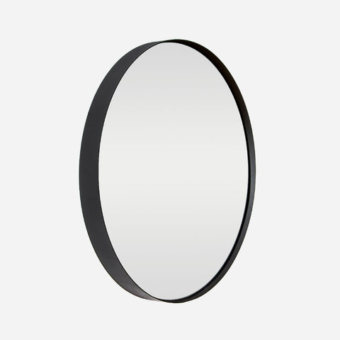 Deep Frame Round Mirror - Black