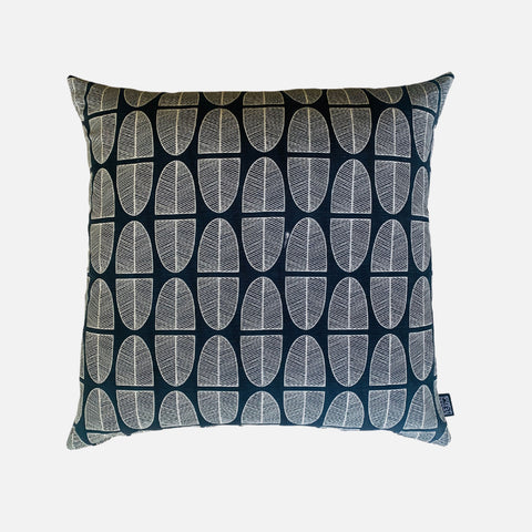 Scatter Cushion - Banana Leaf Parchment on Black