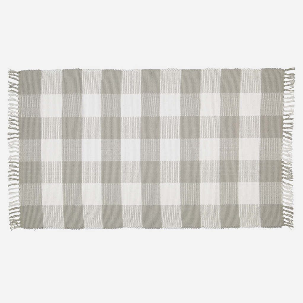 Dhurrie Tabby Checked Rug - Grey and White