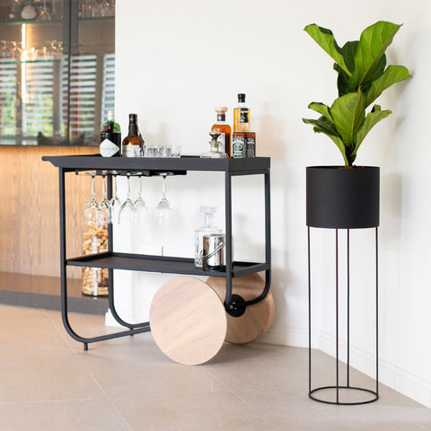 Drum Plant Stand - Black