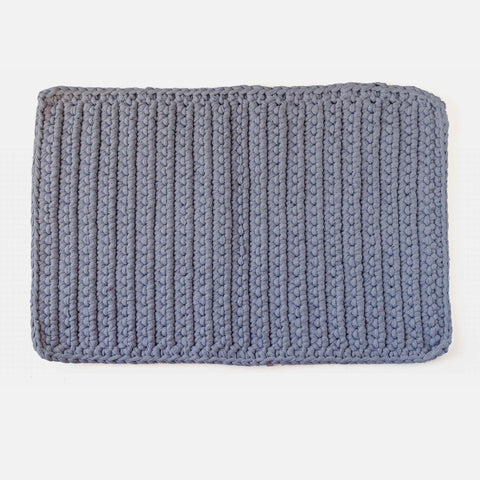 Cotton Crochet Bathmat - Grey