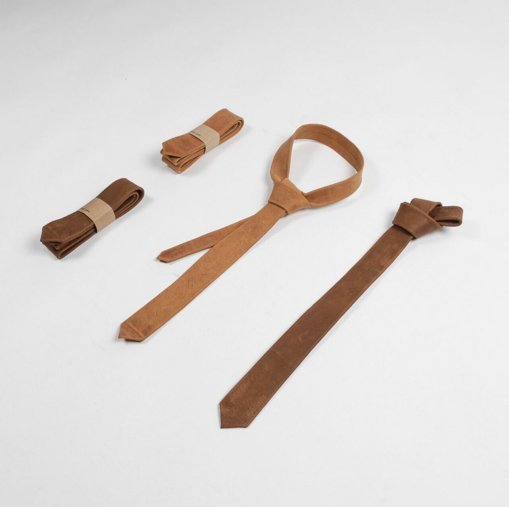 Leather Tie - Grey/Brown