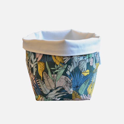 Medium Fabric Bucket: Wild at Heart Gunmetal Cool