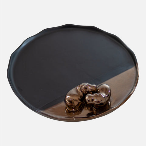 Double Hippo Plate - Black/Bronze